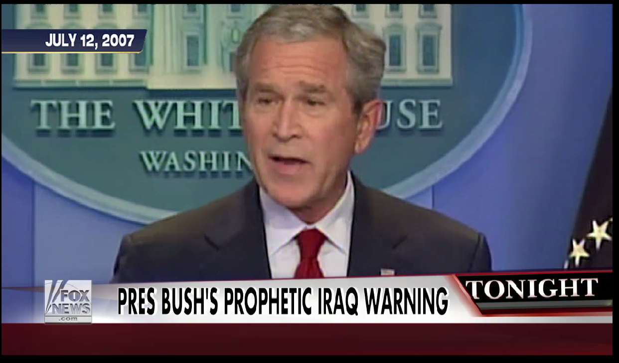 President George W. Bush's chilling warning on Iraq in 2007