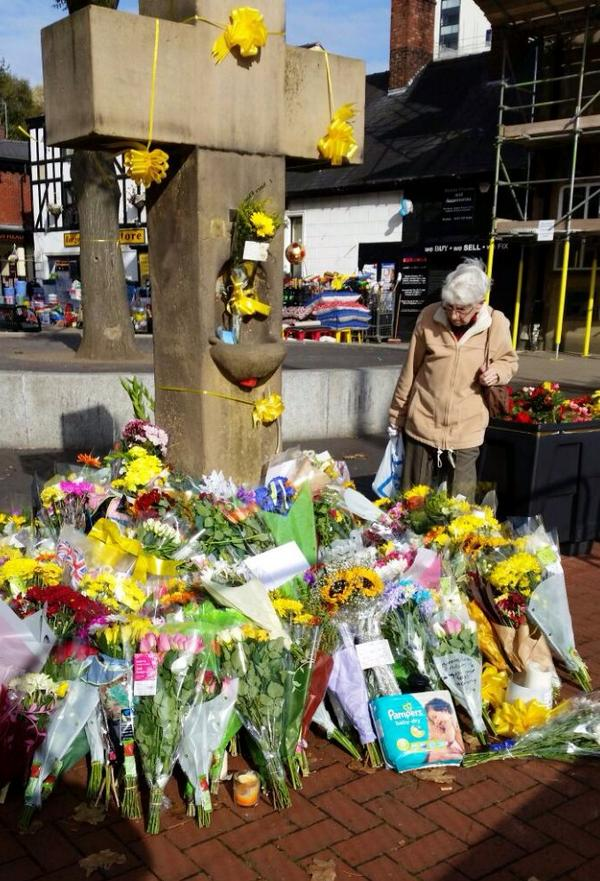 Flowers & ribbons cover Eccles in tribute to Alan Henning, plus the nappies he was trying to take to Syrian children