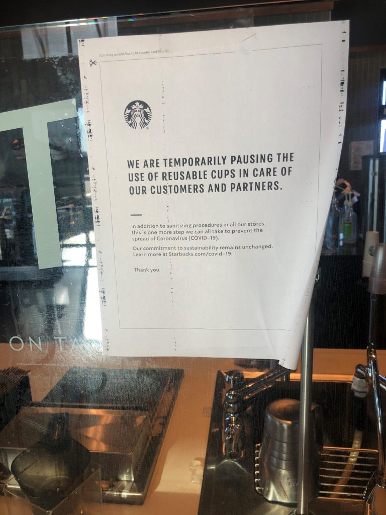 Starbucks Temporarily Bans Use of Personal Reusable Cups Due to Coronavirus